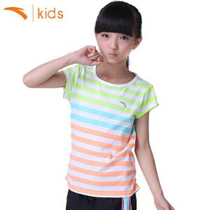 安踏童装 女童夏季纯棉短袖儿童T恤条纹休闲运动跑步短T