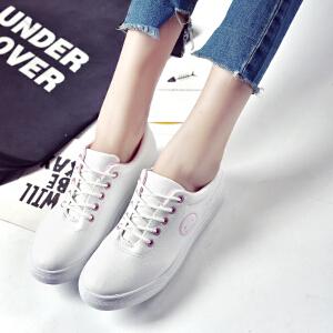 妃枫霏春季新款小白鞋女学生单鞋圆头浅口韩版朝鞋系带厚底板鞋
