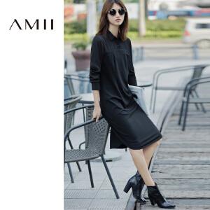 【AMII超级大牌日】i2017年春女装新款修身显瘦大码中长款长袖连衣裙