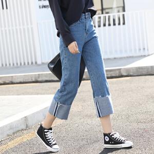 春季阔腿牛仔裤高腰九分裤翻边直筒裤韩国宽松bf卷边裤