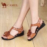 骆驼牌女鞋新款时尚女鞋 夏季舒服透气凉鞋 鱼嘴型套脚鞋魔术贴潮