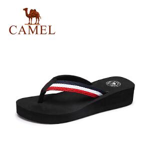 camel骆驼女鞋 2017夏季新款时尚百搭女生人字拖海边条纹坡跟沙滩拖鞋
