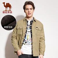 camel骆驼男装   潮流纯色修身休闲立领长袖加绒棉衬衫