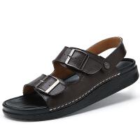凉鞋男夏季 头层牛皮沙滩鞋男士真皮凉鞋防滑英伦露趾透气休闲鞋