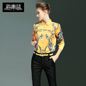 海青蓝2017春季新款欧美潮流印花长袖衬衫修身显瘦翻领衬衣女6311