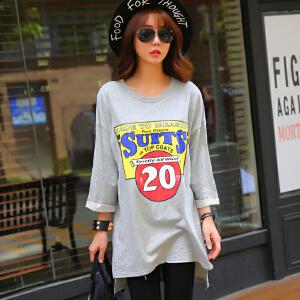 2017中长款韩版宽松女装春夏新款印花全棉短袖T恤BB17323