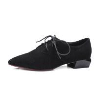 ELEISE美国艾蕾莎春季上新002-X127韩版磨砂羊皮反绒皮中高跟粗跟尖头女士单鞋