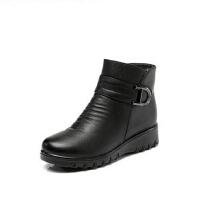 冬季羊毛加绒真皮中老年人短靴妈妈鞋 女棉鞋大码鞋坡跟防滑中年女鞋