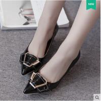 单鞋女鞋高跟鞋方扣中跟粗跟低跟尖头浅口工作鞋