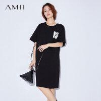 Amii[极简主义]2017夏装新款宽松圆领落肩印花腰带连衣裙11732116