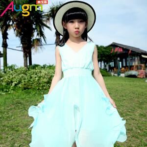 奥戈曼  童装女童夏季长裙连衣裙中大童韩版无袖沙滩裙儿童不规则公主裙子