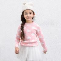 amii童装冬新款女童毛衣中大童圆领套头上衣儿童提花针织衫