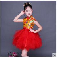 儿童旗袍女童短袖唐装新款中国风古筝演出服中大童女孩公主裙儿童服装支持礼品卡支付