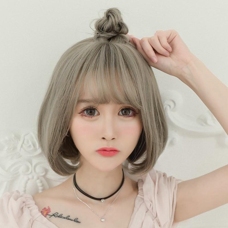 适合的半丸子头发型 短发女生烫什么发型能扎半丸子头