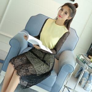 【当当年中庆】春装中长款拼接蕾丝连衣裙甜美修身百搭连衣