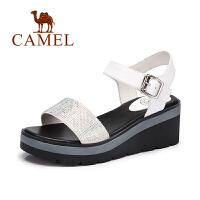 Camel/骆驼女鞋 2017夏季新款 休闲简约水钻凉鞋坡跟舒适鞋