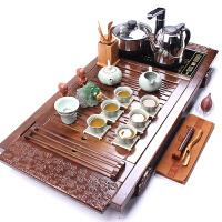 整套茶具功夫茶具套装开片汝窑茶具套装茶壶雕刻实木茶盘托盘 柏木万福汝窑小吉壶10头带电热炉套装