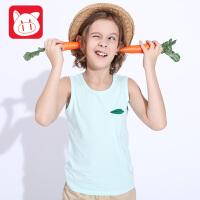 小猪班纳童装男童背心中大童无袖上衣2017夏装新款小孩儿童男