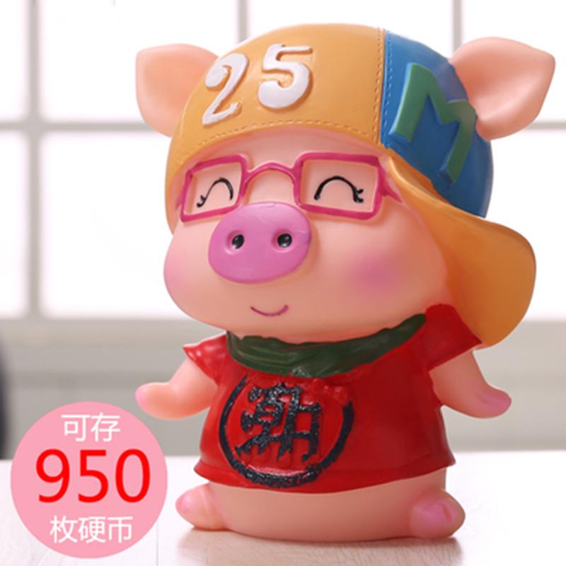 卡通零钱罐 可爱猪猪存钱罐 大号搪胶防摔储蓄罐 创意时尚摆件礼品