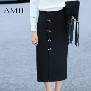 【AMII超级大牌日】[极简主义]2017年春新复古侧开叉下摆大码中长款半身裙11682114