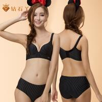 钻石丫丫无痕无钢圈文胸套装性感聚拢调整型小胸罩光面女内衣-AC12035
