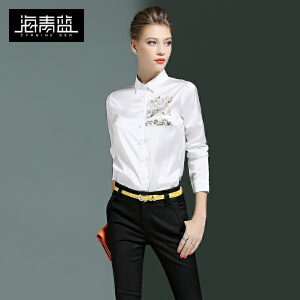 海青蓝2017春季新款时尚字母印花OL衬衫长袖气质衬衣女装上衣6335