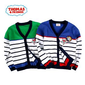 【券后150-70】托马斯童装男童秋装时尚拼接潮流条纹开衫针织衫毛衣托马斯和朋友毛线衣