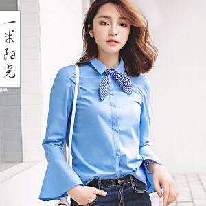 一米阳光2017春装新款韩版荷叶边雪纺衫长袖衬衣女