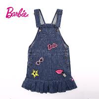 【满200减100】Barbie芭比女童装秋装甜美立体织章时尚牛仔背带裙