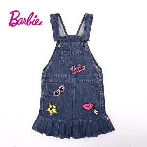 【券后150-70】芭比童装女童秋装甜美立体织章时尚牛仔背带裙