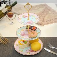 门扉 水果盘 欧式创意客厅三层水果架蛋糕架陶瓷下午茶点心盘果篮厨房用品家居日用碗盘餐具