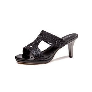 莎诗特2017夏季女鞋性感水钻高跟凉鞋细跟凉拖鞋室外金色银色穆勒鞋86066