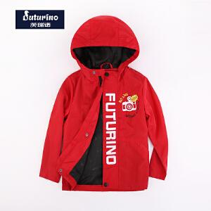 【券后150-70】芙瑞诺童装男童秋装外套红色连帽上衣中大童拉链防风外套