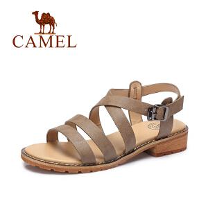camel骆驼女鞋 2017夏季新款 休闲方跟罗马鞋 百搭露趾凉鞋