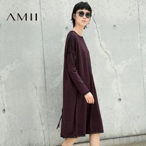 【AMII超级大牌日】2017年春装新款圆领宽松优雅长袖连衣裙女 11683271