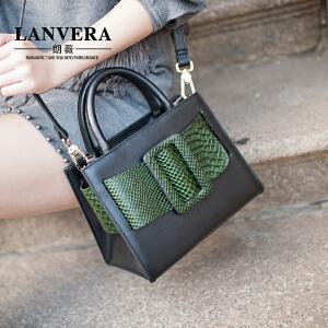 LANVERA 欧美时尚真皮女包 2017新款复古撞色牛皮小方包单肩手提包 L2019 【支持礼品卡】
