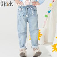 初语童装 2016冬装新款 女童牛仔裤 百搭纯色儿童牛仔裤T5318150032