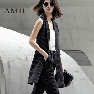 Amii[极简主义]2017春女西装翻领无袖竖条纹宽松中长马夹11780192