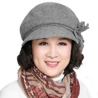 帽子女秋冬中老年蝴蝶结毛呢帽女士圆顶礼帽保暖中年帽女