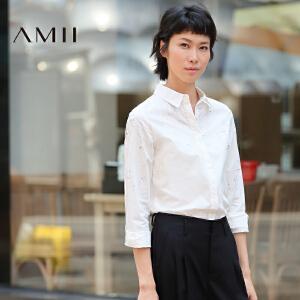 【AMII超级大牌日】[极简主义]2017年春新款百搭常规款大码长袖衬衫女11672905