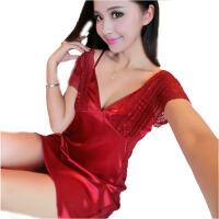 夏天女性感睡衣女蕾丝情趣内衣丝绸睡衣吊带睡裙中裙