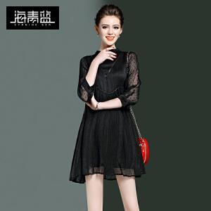海青蓝2017春装新款时尚纯色通勤立领七分袖高腰气质连衣裙女8875