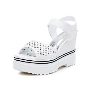 莎诗特2017新款坡跟凉鞋女夏厚底鞋超高跟鞋魔术贴女鞋86800