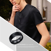 简约光面钛钢男士戒指 6mm宽韩版霸气单身食指尾戒指环学生饰品个性刻字