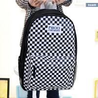 新款潮包背包英伦风黑白格双肩包女中学生书包韩版学院风男女包包