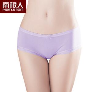 南极人4条装 蕾丝边女士内裤纯棉 可爱蝴蝶结中腰全棉女式内裤