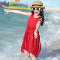 奥戈曼  女童吊带裙儿童连衣裙沙滩裙纯色中大童夏款2017新款休闲裙子夏季