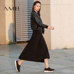 【AMII超级大牌日】[极简主义]2017春女新短袖A字修身小黑裙长款连衣裙11790003