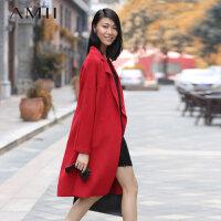 【AMII超级大牌日】[极简主义] 冬季新品欧美长款羊毛呢大衣英伦风毛呢外套女11490578