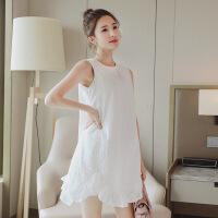 美琳妈咪 纯棉孕妇连衣裙中长款孕妇装夏装无袖白色裙子上衣大码夏季全棉7212